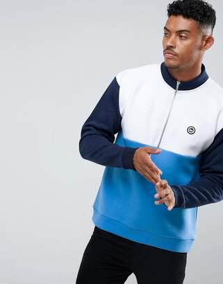 Hype Sweatshirt In Blue With Half Zip Funnel Neck