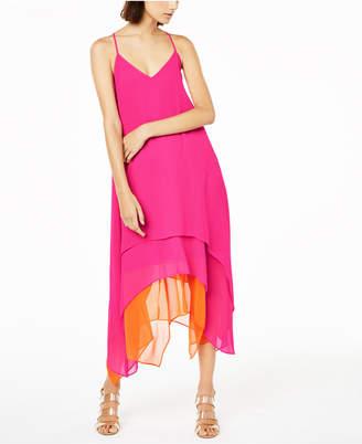 Bar III Sleeveless Tiered Handkerchief-Hem Dress