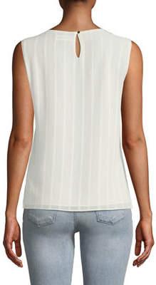 Iconic American Designer V-Neck Sleeveless Striped Chiffon Top