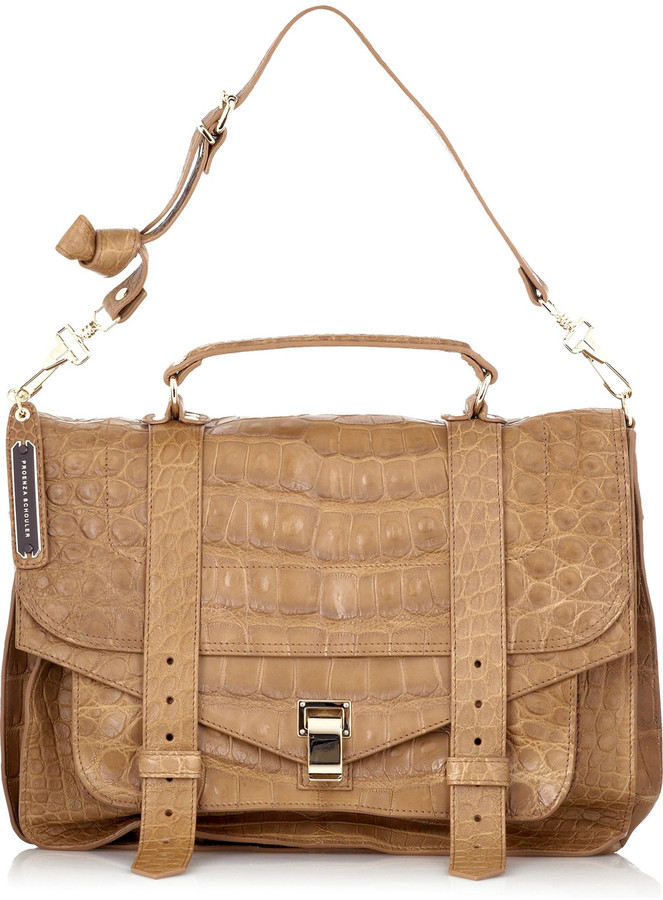 Proenza Schouler PS1 Large crocodile satchel