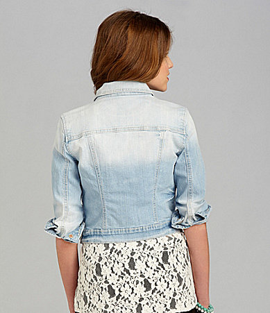Miss Me Lace-Yoke Denim Jacket