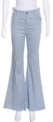 Oscar de la Renta Chambray Wide-leg Pants