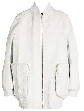 Fendi Women's Embossed Logo Leather Oversized Jacket