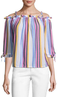 A.N.A 3/4 Sleeve Straight Neck Woven Blouse