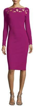 La Petite Robe di Chiara Boni Terrie Long-Sleeve Cutout Jersey Dress, Vinaccia $695 thestylecure.com