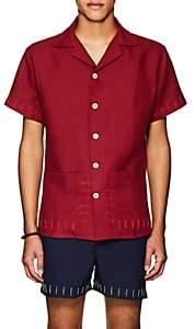 HECHO Men's Guayaber Embroidered Linen Shirt - Wine