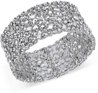 INC International Concepts I.n.c. Silver-Tone Wide Crystal Cluster Stretch Bracelet