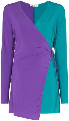 ATTICO Two-Tone Jersey Wrap Dress