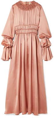 Roksanda Zoya Ruched Silk-satin Maxi Dress - Antique rose