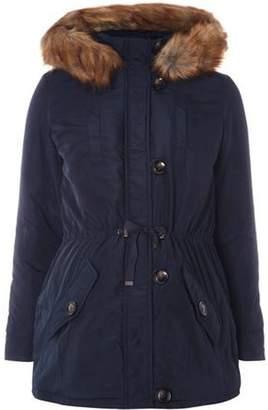 Dorothy Perkins Womens **Maternity Navy Faux Fur Trim Parka Coat