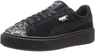Puma Women's Suede Platform Crushed GEM Running Shoes, Black Aged Silver
