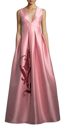 Sachin + Babi Embroidered Tulip Taffeta Sleeveless Gown