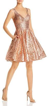 Mac Duggal Short Sequin Fit-and-Flare Dress