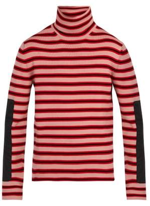 Moncler 3 Logo Embroidered Roll Neck Wool Blend Sweater - Mens - Blue Stripe