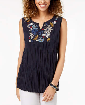 Style&Co. Style & Co Cotton Embroidered Top, Created for Macy's