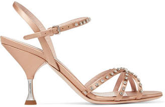 Miu Miu Crystal-embellished Satin Sandals - Antique rose