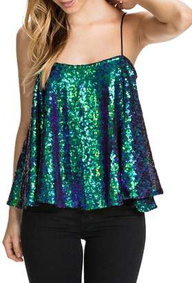 Lemon L E M O N Richlulu Womens Sparkly Sequin Spaghetti Strap Ruffled Club Star Tank Top(M,)