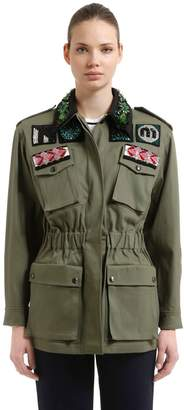 Miu Miu Embellished Military Cotton Jacket