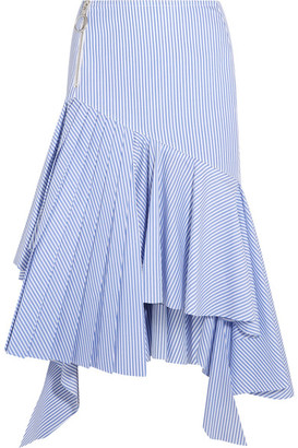Off-White - Ruffled Striped Cotton Midi Skirt - Light blue $590 thestylecure.com