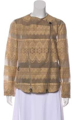 Akris Striped Lightweight Jacket Tan Striped Lightweight Jacket