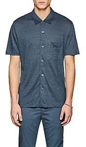 Theory Men's Slub Linen Shirt - Md. Blue