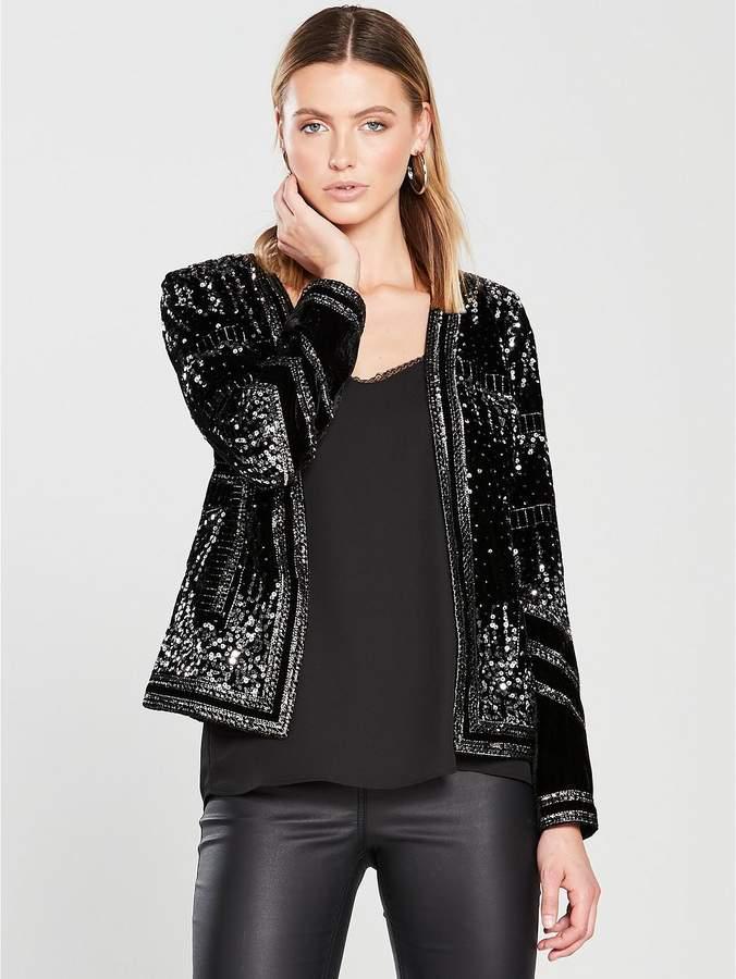 Premium Velvet Embellished Trophy Jacket - Black