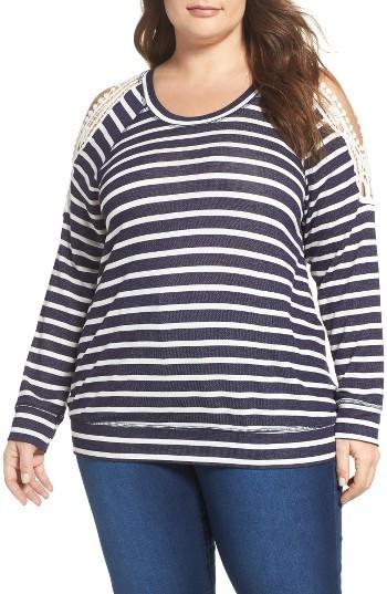 BobeauPlus Size Women's Bobeau Crochet Trim Stripe Cold Shoulder Pullover