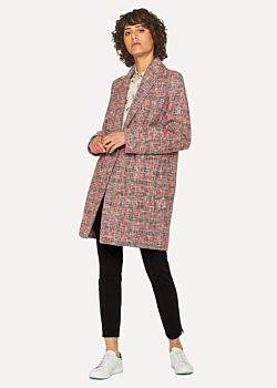 Paul Smith Women's Navy And Red Cotton-Blend Tweed Cocoon Coat