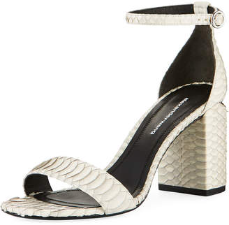 Alexander Wang Abby Block-Heel Watersnake Sandals