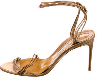 Brian Atwood Metallic Ankle Strap Sandals $100 thestylecure.com