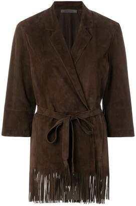 Simonetta Ravizza fringe trim wrap leather jacket