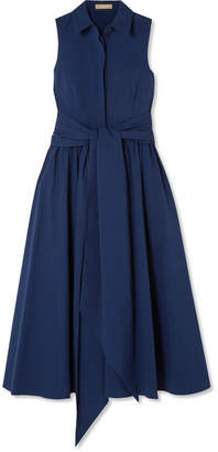 Michael Kors Belted Stretch-cotton Poplin Midi Dress - Blue
