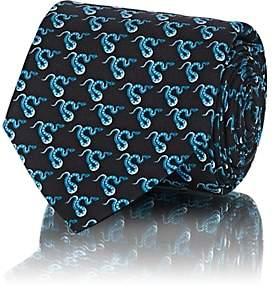 Prada Men's Snake-Print Silk Twill Necktie-Blue