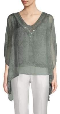 Le Marais Floral Lace-Trimmed Silk Top