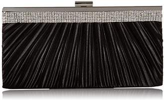 Jessica McClintock Laura Rhinestone Satin Bag Evening Clutch With Crossbody Chain