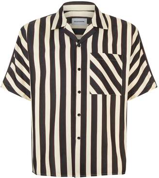 Solid Homme Notch Collared Stripe Print Shirt