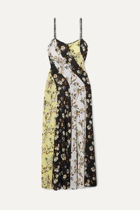 Off-White OffWhite - Paneled Floral-print Intarsia-trimmed Crepe De Chine Maxi Dress