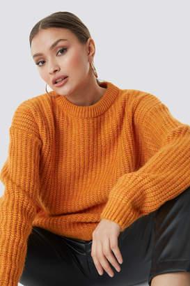 NA-KD Na Kd Heavy Knit Round Neck Sweater Beige