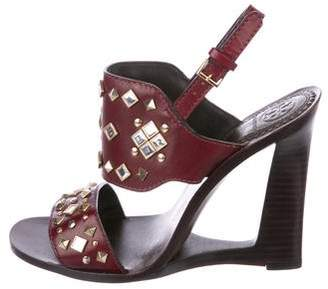 Tory Burch Leather Embellished Wedges