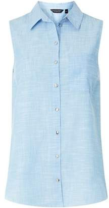 Dorothy Perkins Womens Chambray Sleeveless Shirt