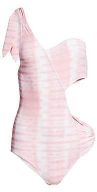 Jonathan Simkhai Women's Tie Dye One-Shoulder Swimsuit