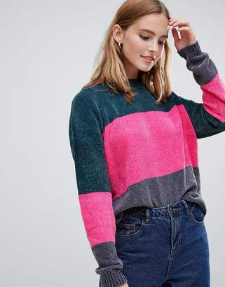 Brave Soul Panda Chenille Sweater in Block Stripe
