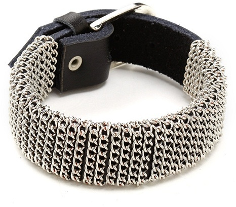 Ccc Chain Link Leather Buckle Cuff