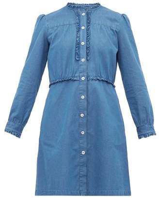 A.P.C. Hoshi Ruffled Chambray Mini Dress - Womens - Denim