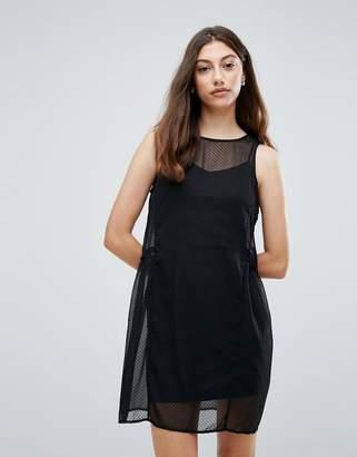 Pieces Eila Mesh Overlay Dress