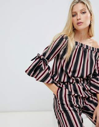 Vila stripe two-piece bardot top