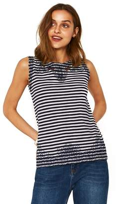 Oasis - Navy Blue Stripe Broderie Trim Shell Top