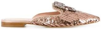 Alberta Ferretti metallic embellished mules