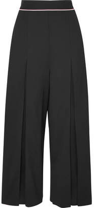 Stella McCartney Cropped Wool-crepe Wide-leg Pants - Black