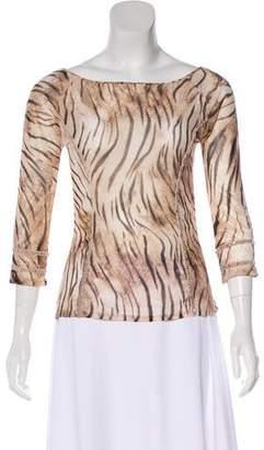 Blumarine Semi-Sheer Long Sleeve Blouse